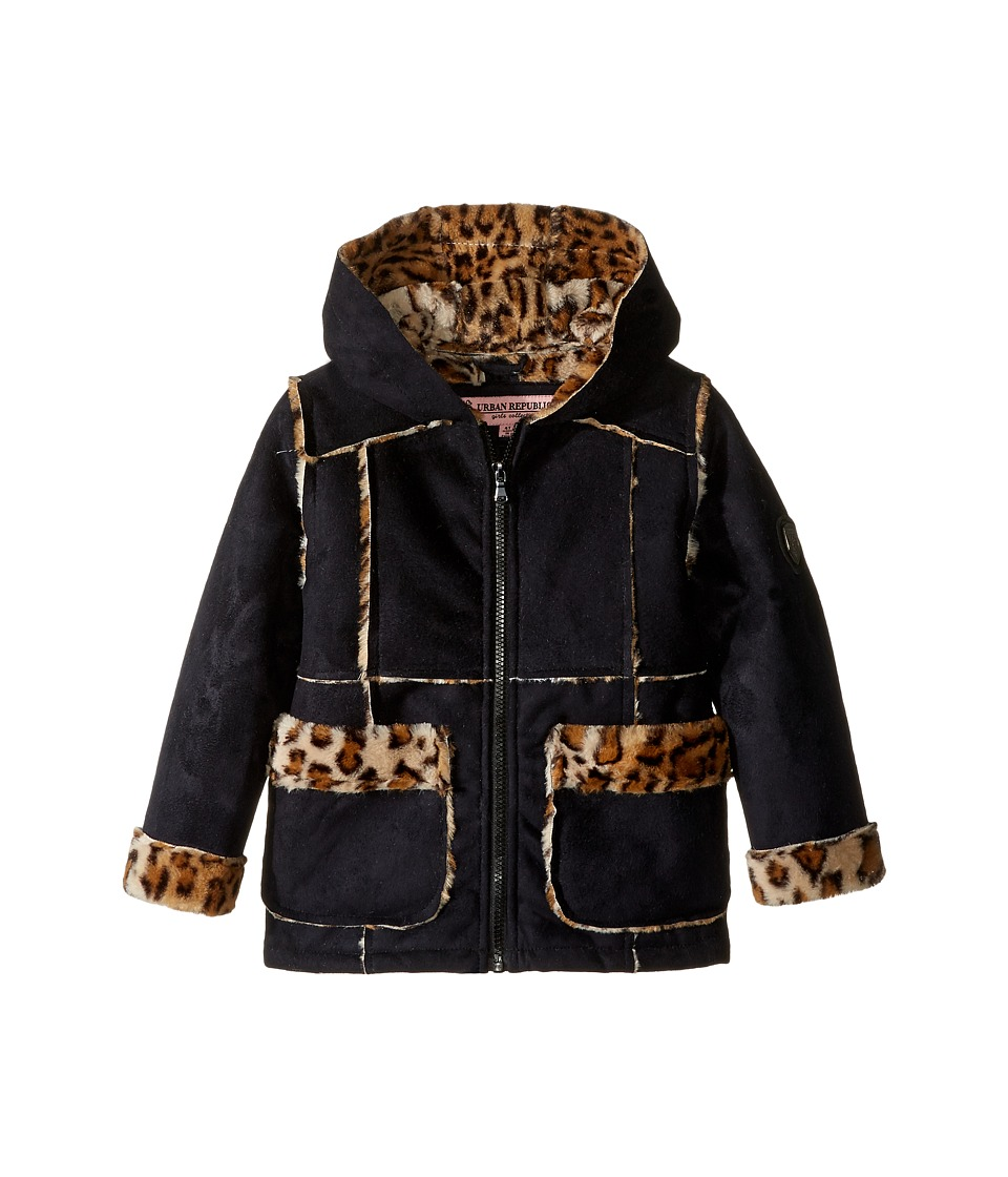 Urban Republic Kids - Ultra Suede Faux Shearling Hooded Jacket (Toddler) (Black 2) Girl's Coat