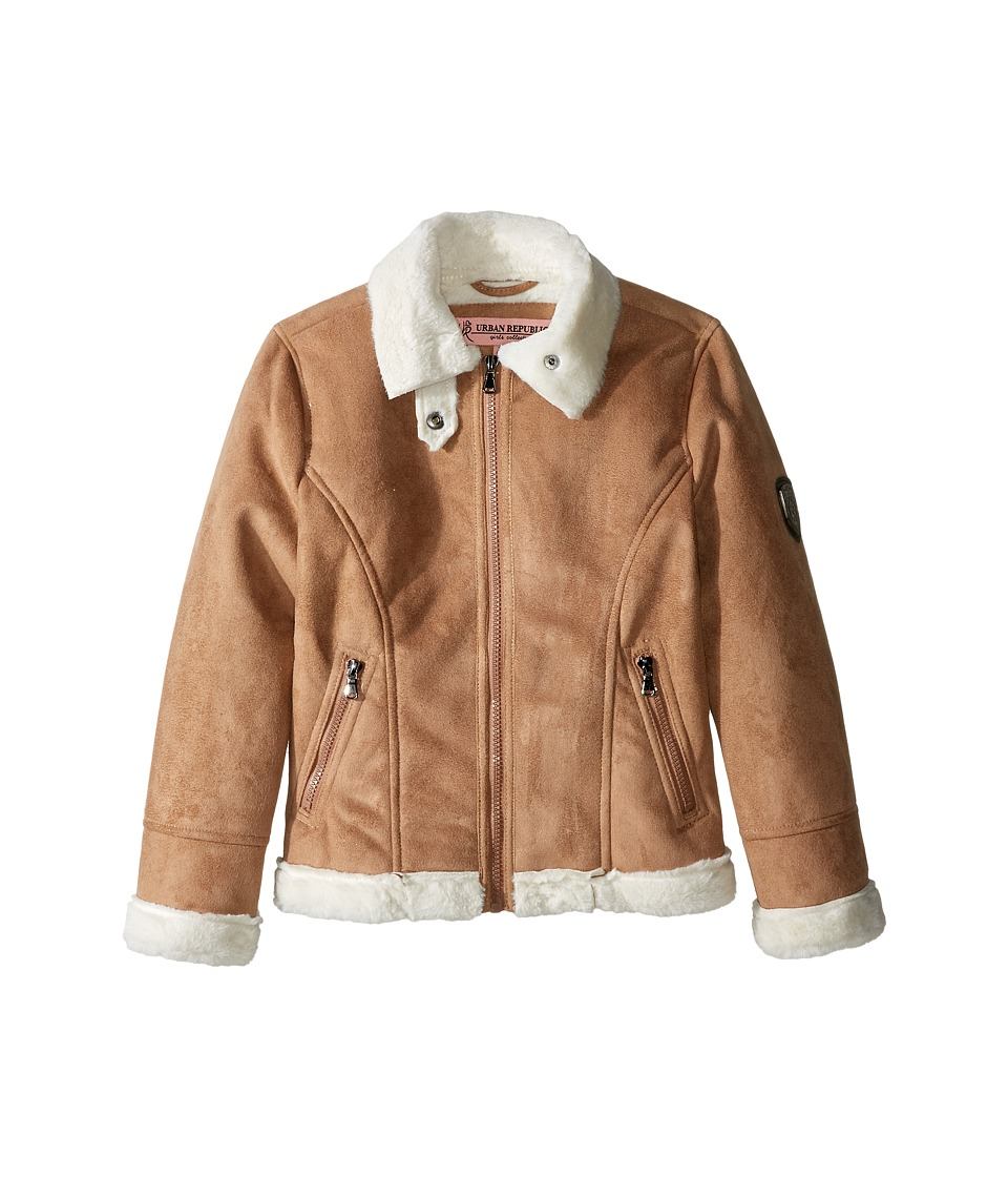 Urban Republic Kids - Ultra Suede Faux Shearling Jacket (Little Kids) (Caramel) Girl's Coat