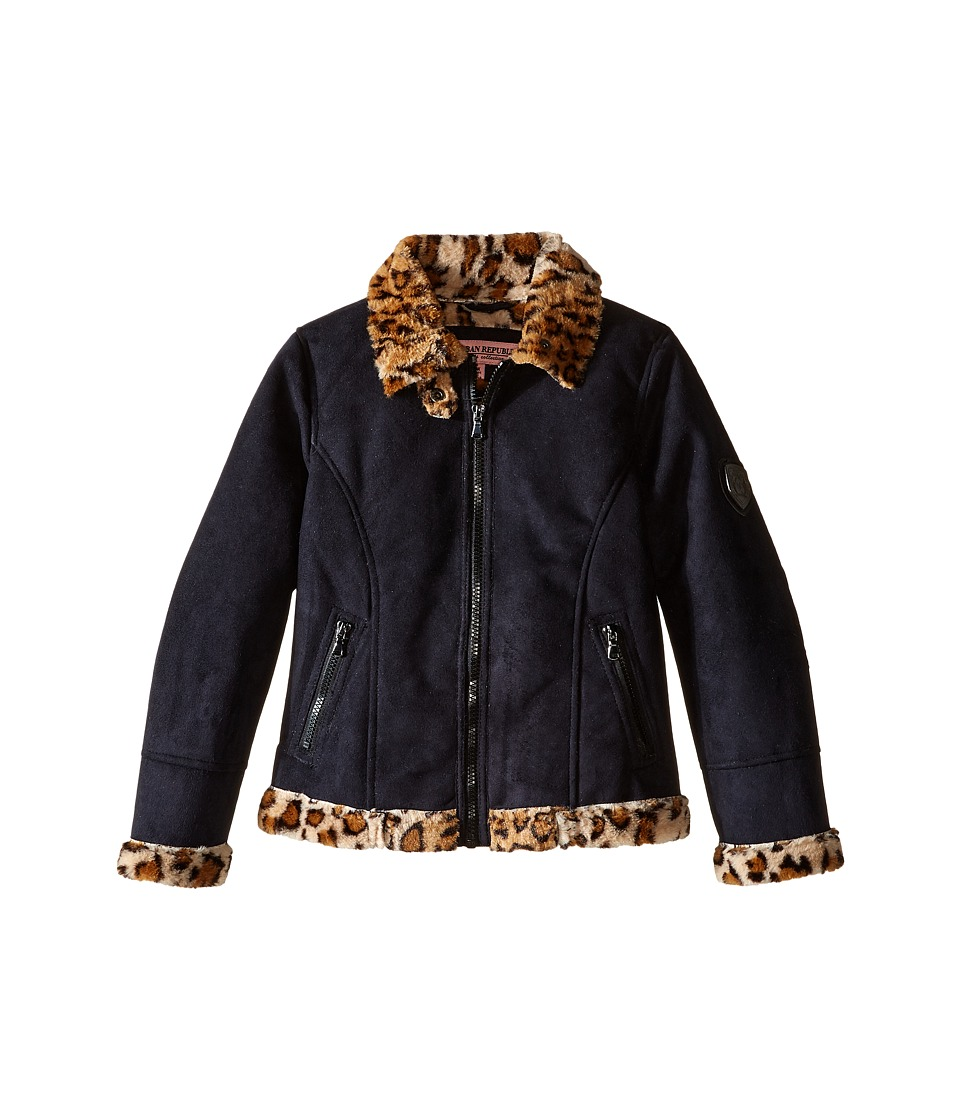 Urban Republic Kids - Ultra Suede Faux Shearling Jacket (Little Kids) (Black) Girl's Coat