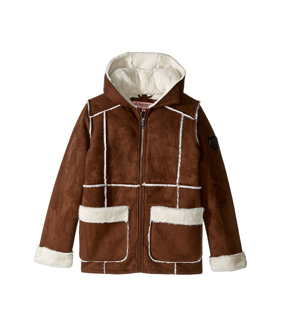 Urban Republic Kids - Ultra Suede Faux Shearling Jacket (Little Kids/Big Kids) (Coffee) Girl's Coat