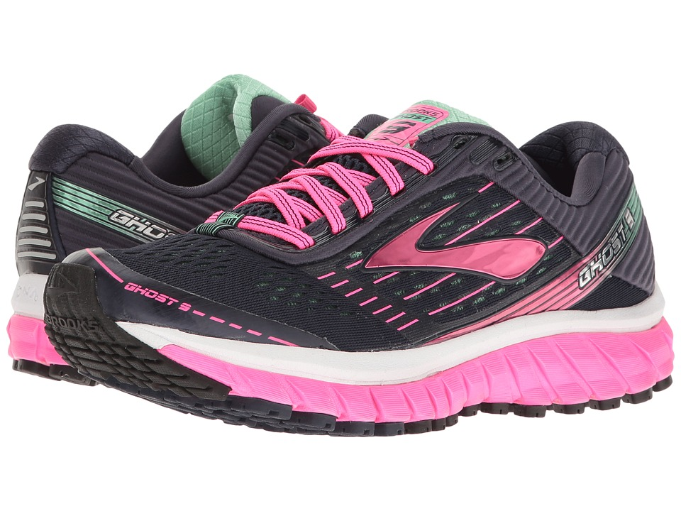 Brooks - Ghost 9 (Peacoat Navy/Knockout Pink/Spring Bud) Women's Running Shoes