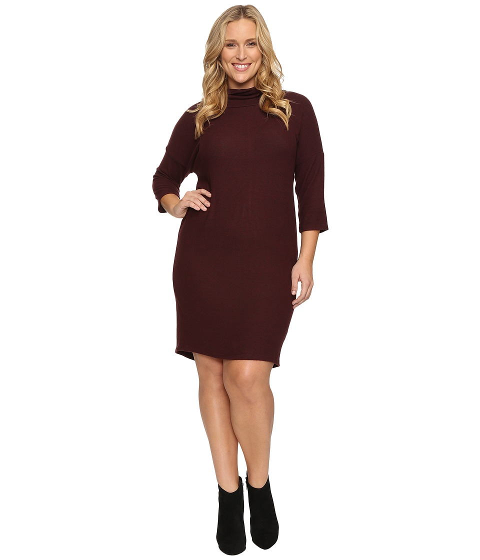 B Collection by Bobeau - Plus Size Cozy Dress (Burgundy) Women's Dress