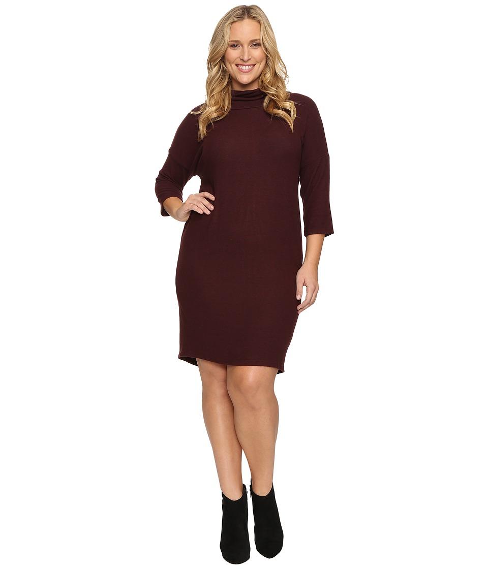B Collection by Bobeau Curvy - Plus Size Cozy Dress (Burgundy) Women's Dress