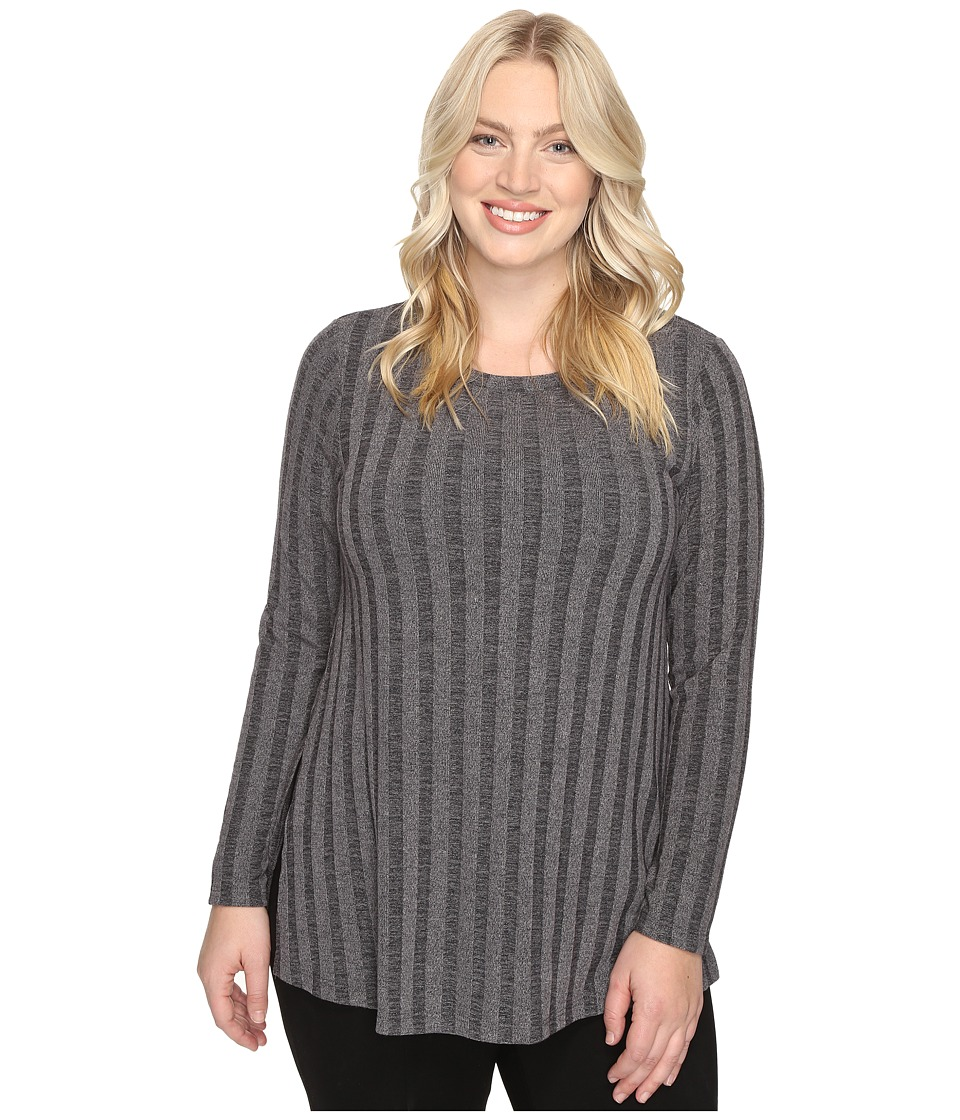 B Collection by Bobeau Curvy - Plus Size Alexa Rib Knit Tee (Charcoal Grey) Women's T Shirt