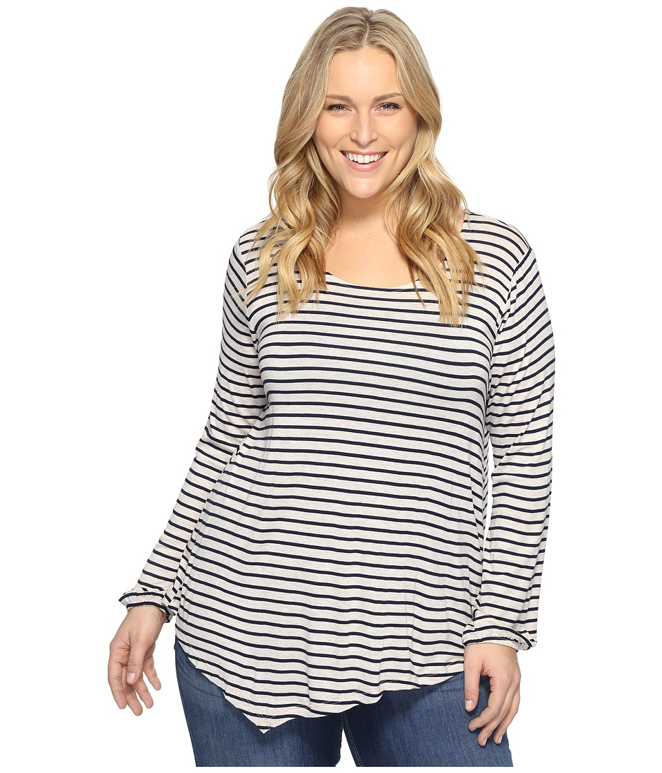 B Collection by Bobeau Curvy - Plus Size Milla Top (Stripe) Women's Clothing