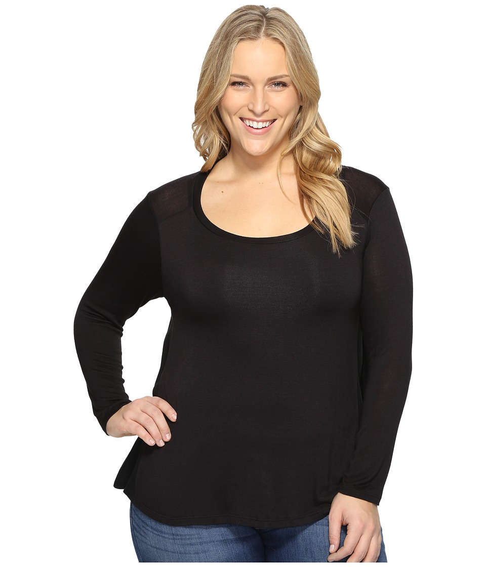 B Collection by Bobeau Curvy - Plus Size Waverly Tee (Black) Women's T Shirt