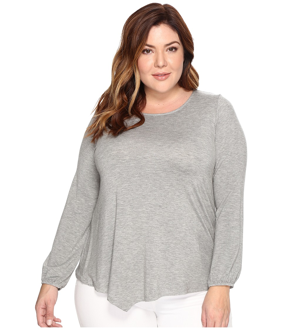 B Collection by Bobeau Curvy - Plus Size Milla Top (Heather Grey) Women's Clothing