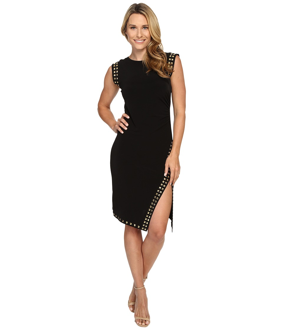 MICHAEL Michael Kors - Sleeveless Stud Uneven Hem Dress (Black/Gold) Women's Dress