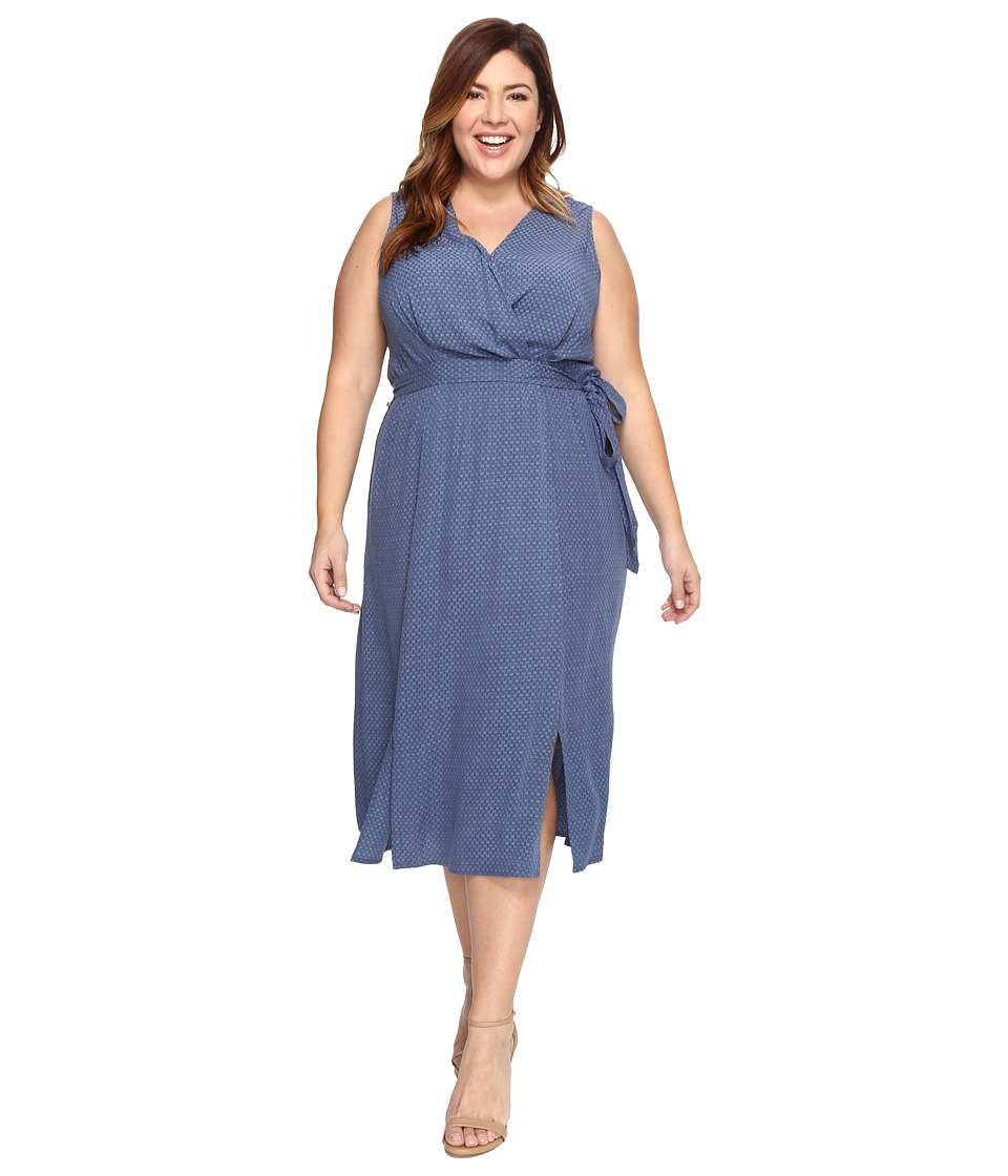 B Collection by Bobeau Curvy - Plus Size Kate Chambray Wrap Dress (Dark Blue) Women's Dress