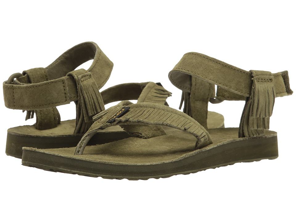Teva - Original Sandal Leather Fringe (Dark Olive) Women's Sandals