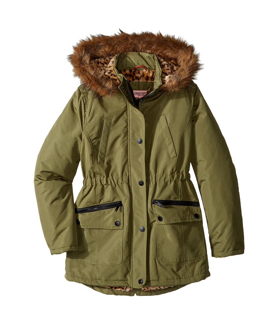 Urban Republic Kids - Feather Touch Ballistic Fur Lined Hooded Jacket (Little Kids/Big Kids) (Green) Girl's Coat
