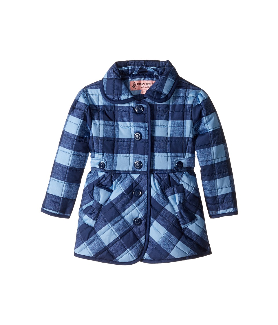 Urban Republic Kids - Quilted Thinfill Jacket (Infant/Toddler) (Navy) Girl's Coat