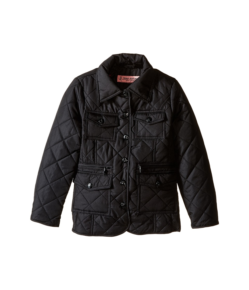 Urban Republic Kids - Quilted Thinfill Jacket (Little Kids/Big Kids) (Black) Girl's Coat