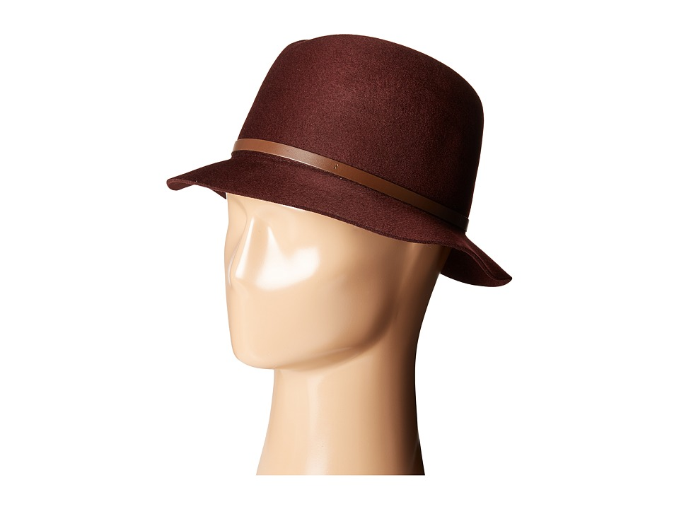 Karen Kane - Raw Edge Fedora w/ Lux Trim (Burgundy) Fedora Hats