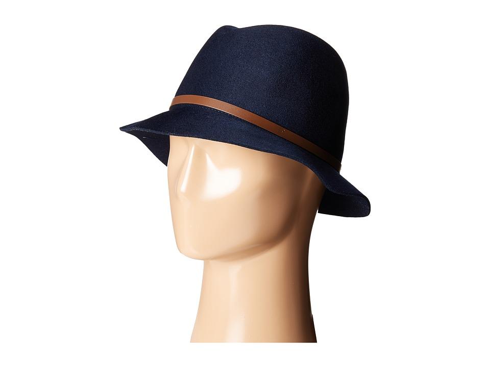 Karen Kane - Raw Edge Fedora w/ Lux Trim (Navy) Fedora Hats