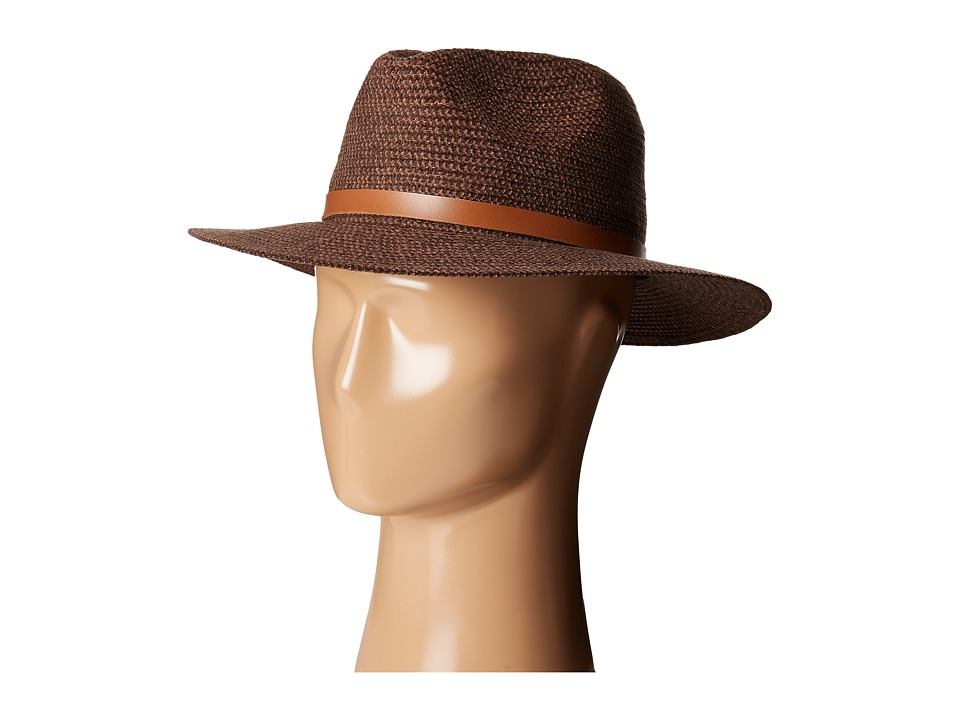 Karen Kane - Tweed Braid Fedora Hat (Dark Brown/Camel) Fedora Hats