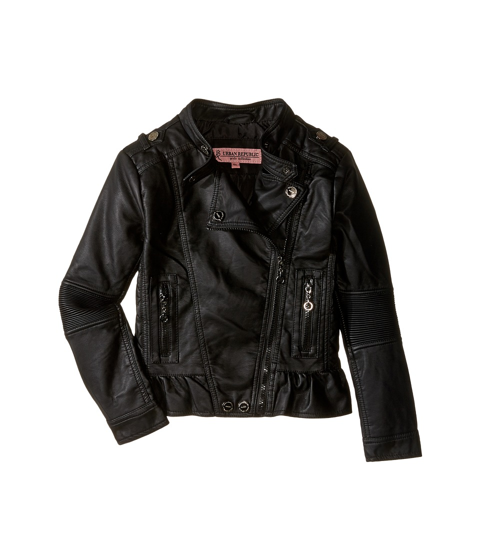 Urban Republic Kids - Distressed Faux Leather Jacket (Little Kids/Big Kids) (Black) Girl's Coat
