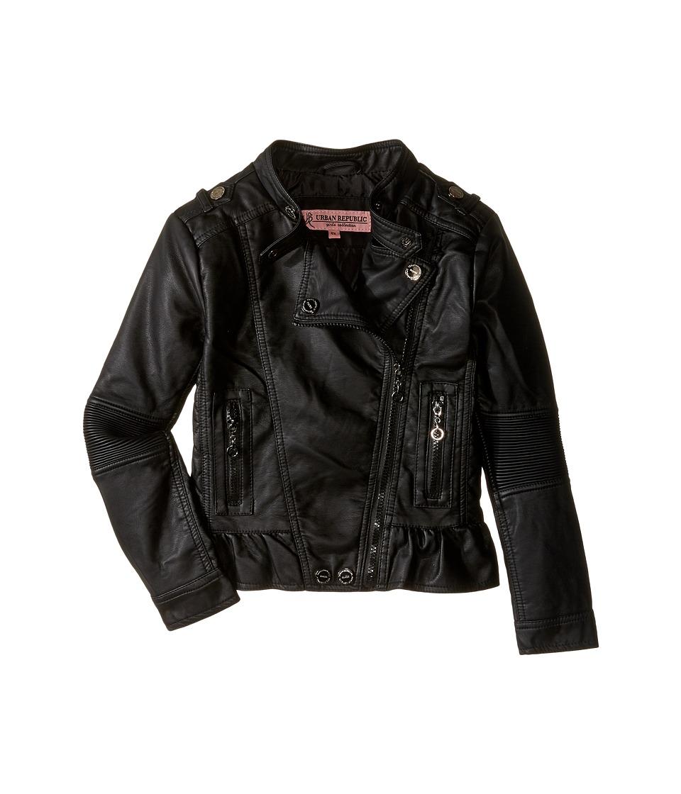 Urban Republic Kids - Distressed Faux Leather Jacket (Little Kids/Big Kids) (Black) Girl's Coat