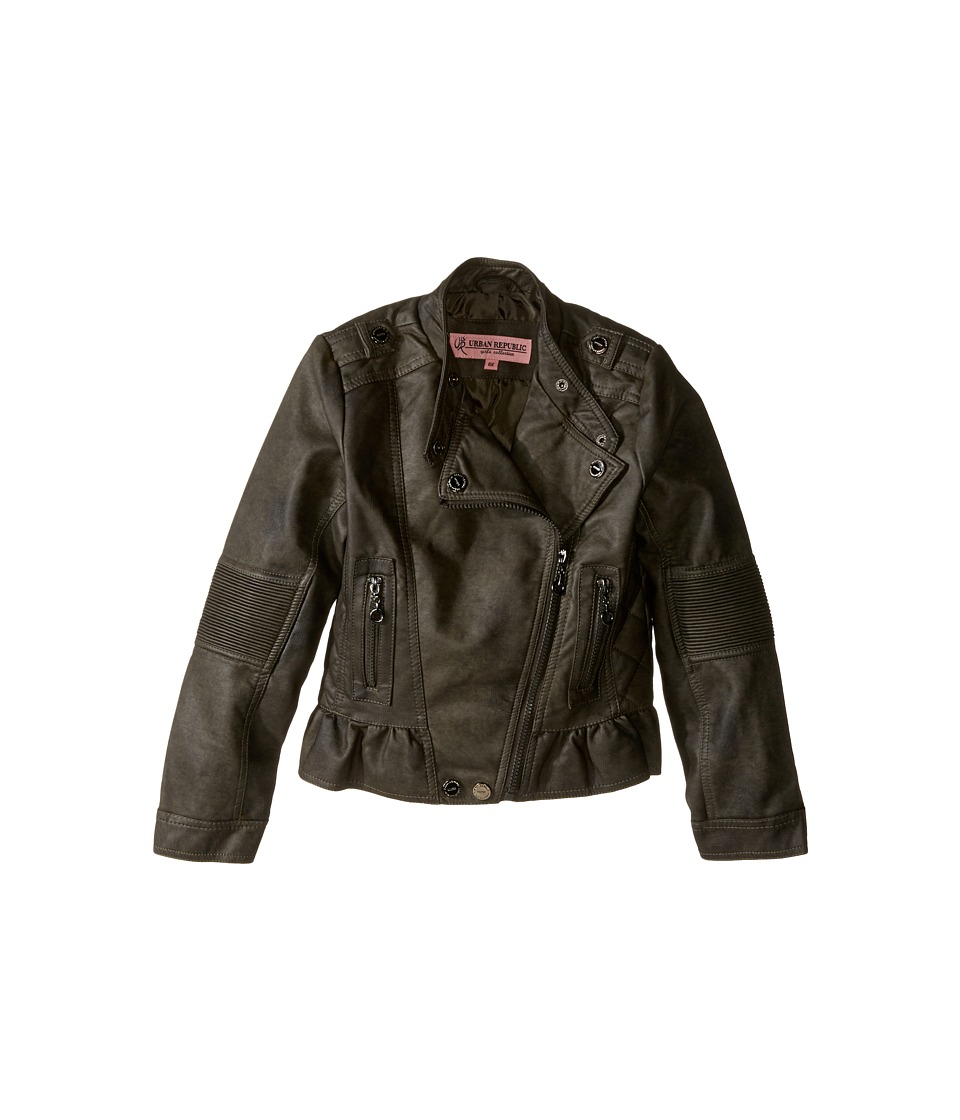 Urban Republic Kids Distressed Faux Leather Jacket (Little Kids/Big Kids) (Olive) Girl