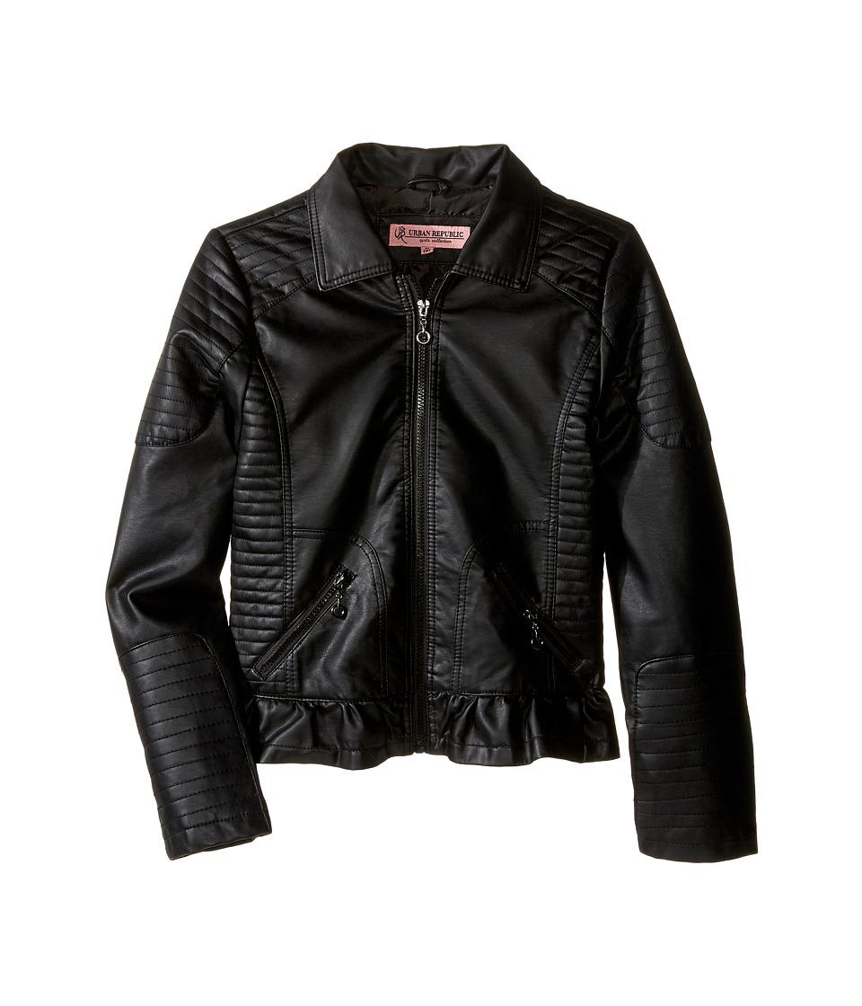 Urban Republic Kids Distressed Faux Leather Jacket (Little Kids/Big Kids) (Black 2) Girl