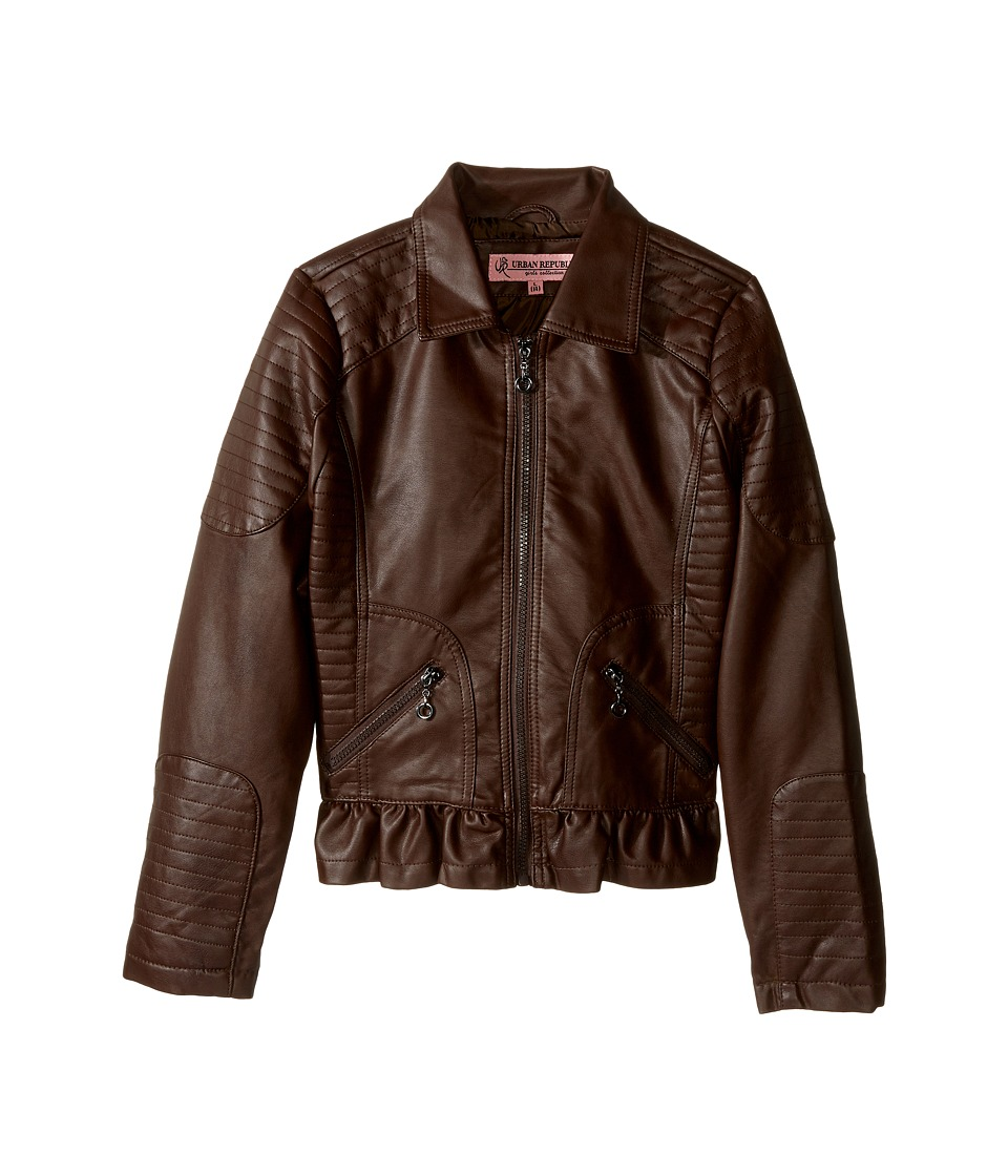 Urban Republic Kids Distressed Faux Leather Jacket (Little Kids/Big Kids) (Espresso) Girl