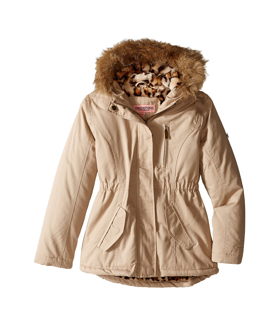 Urban Republic Kids - Cotton Twill Jacket W/Fur Trim (Little Kids/Big Kids) (Stone) Girl's Coat