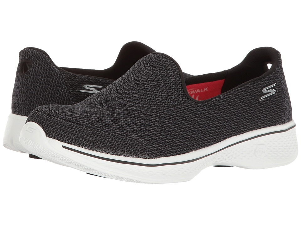 SKECHERS Performance - Go Walk 4 (Black/White) Women's Shoes