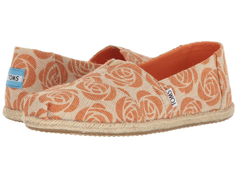 TOMS - EMC Seasonal Classic (Orange Rose Burlap) Women's Shoes