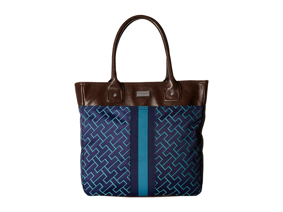 Tommy Hilfiger - TH Logo Stripe Tote (Navy/Teal) Tote Handbags