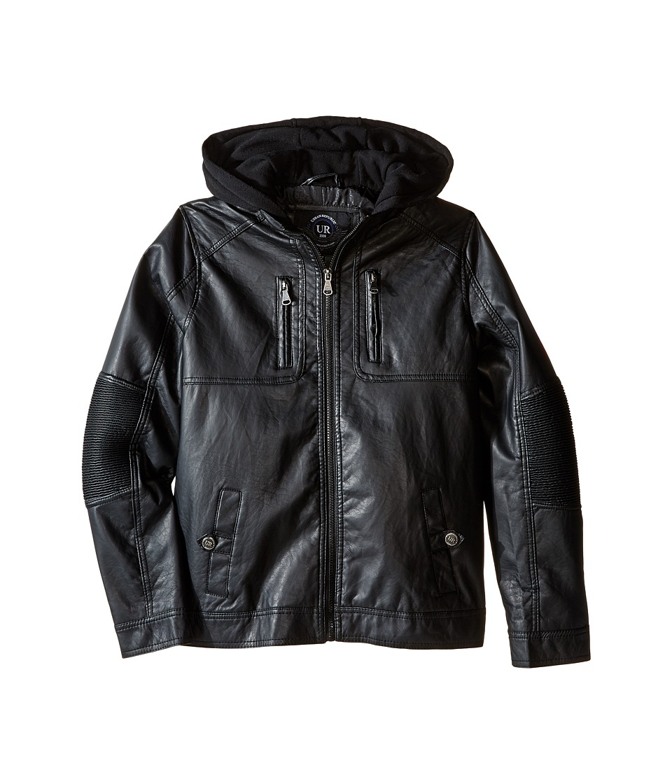 Urban Republic Kids - Faux Leather Jacket w/ Hoodie (Big Kids) (Black) Boy's Coat