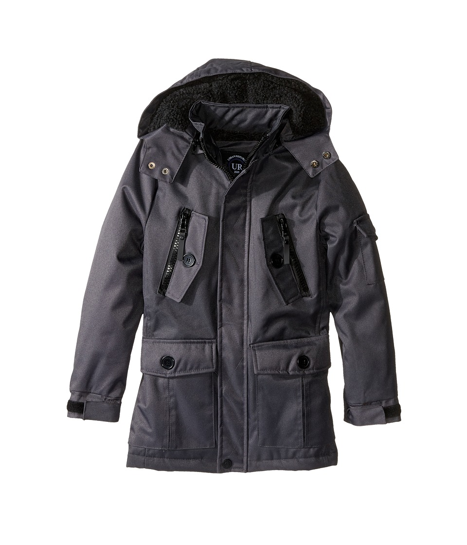 Urban Republic Kids - Ballistic Jacket w/ Zip-off Hood (Little Kids) (Charcoal) Boy's Coat