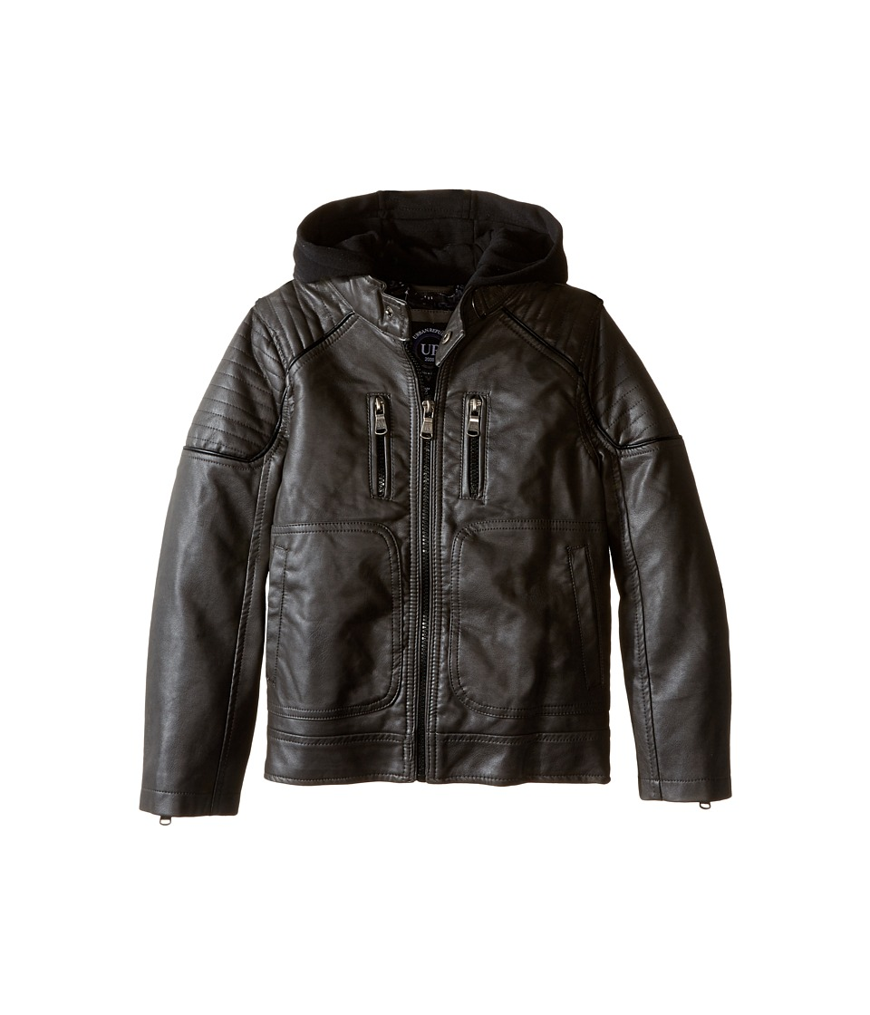 Urban Republic Kids - Faux Leather Biker Jacket (Little Kids) (Dark Charcoal) Boy's Coat