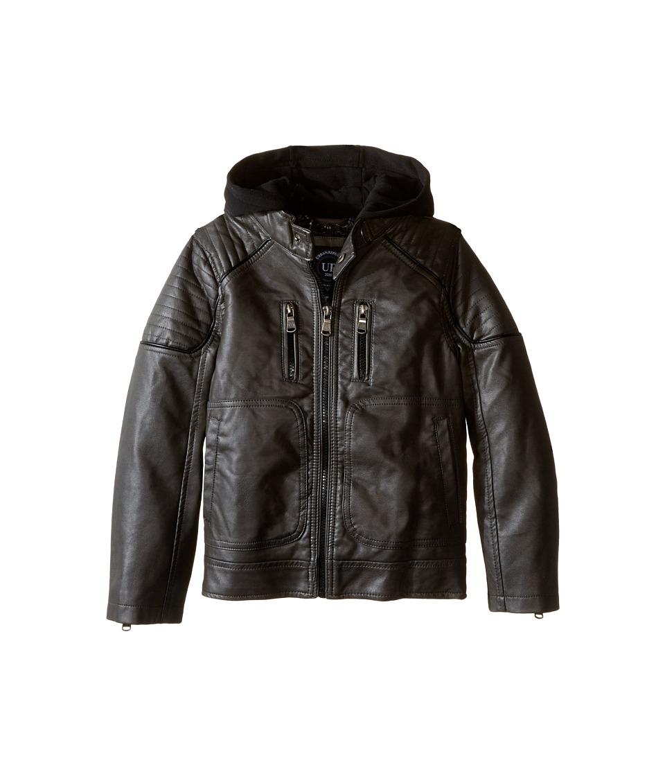 Urban Republic Kids - Faux Leather Biker Jacket (Little Kids) (Dark Charcoal) Boy's Coat