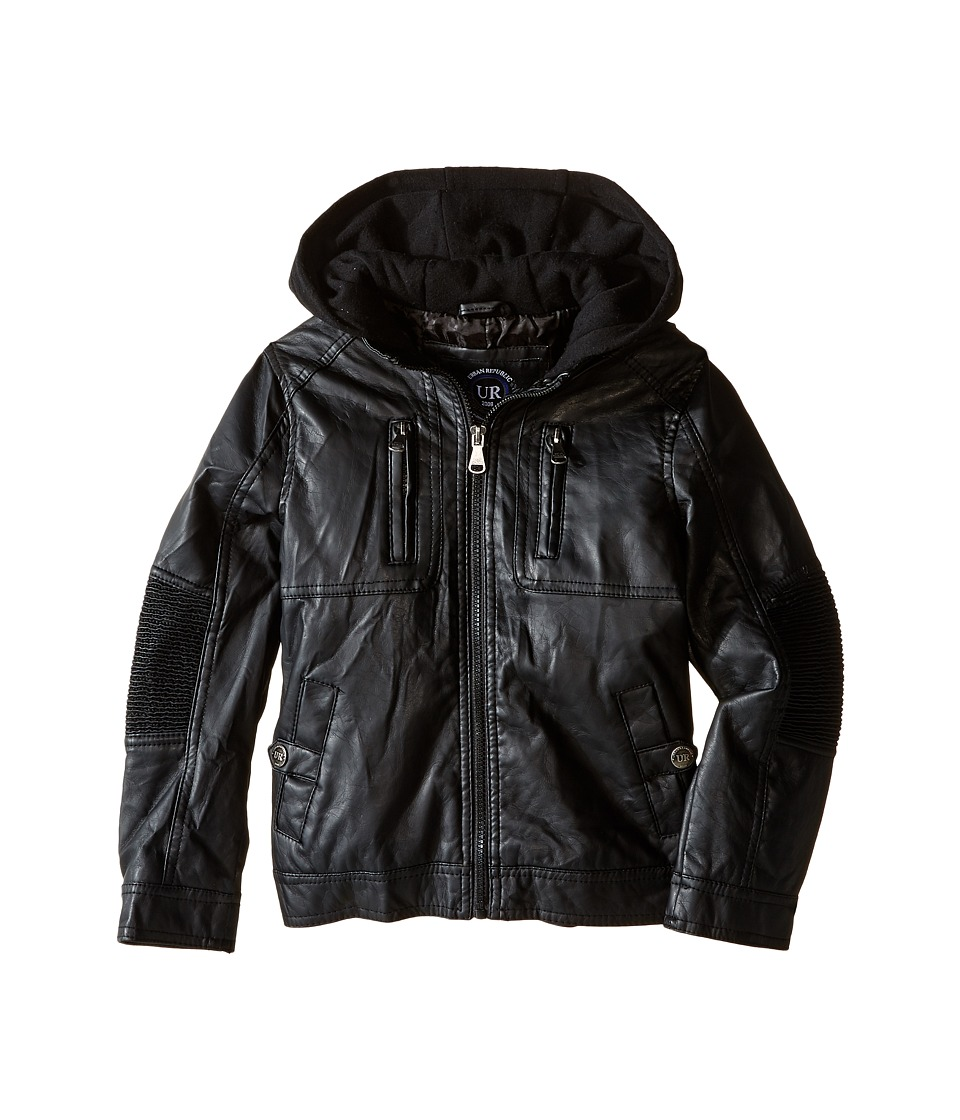 Urban Republic Kids - Faux Leather Jacket w/ Hoodie (Little Kids) (Black) Boy's Coat