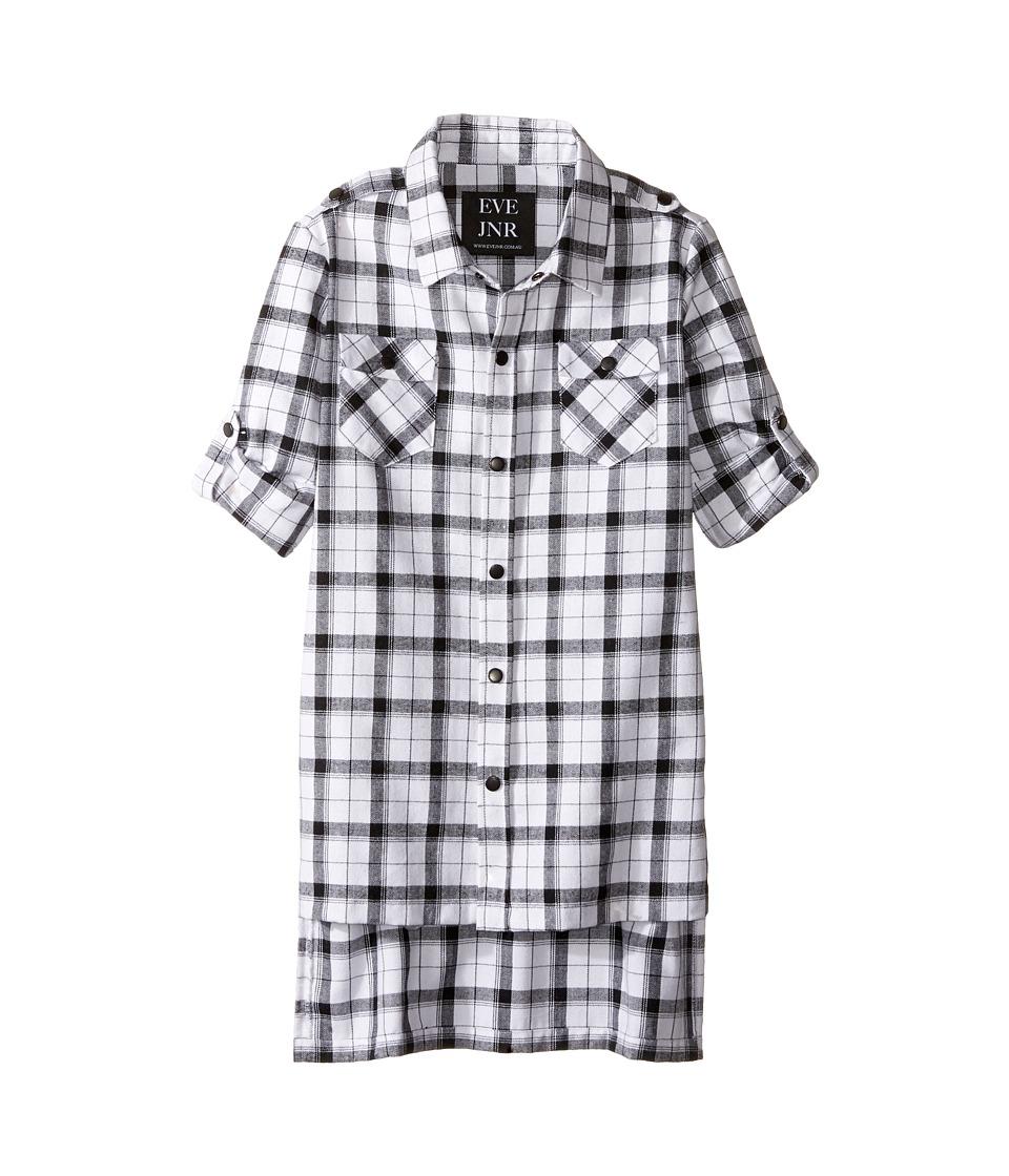 eve jnr - Oversize Button Up Tunic Shirt (Little Kids/Big Kids) (Black/White) Kid's Short Sleeve Button Up
