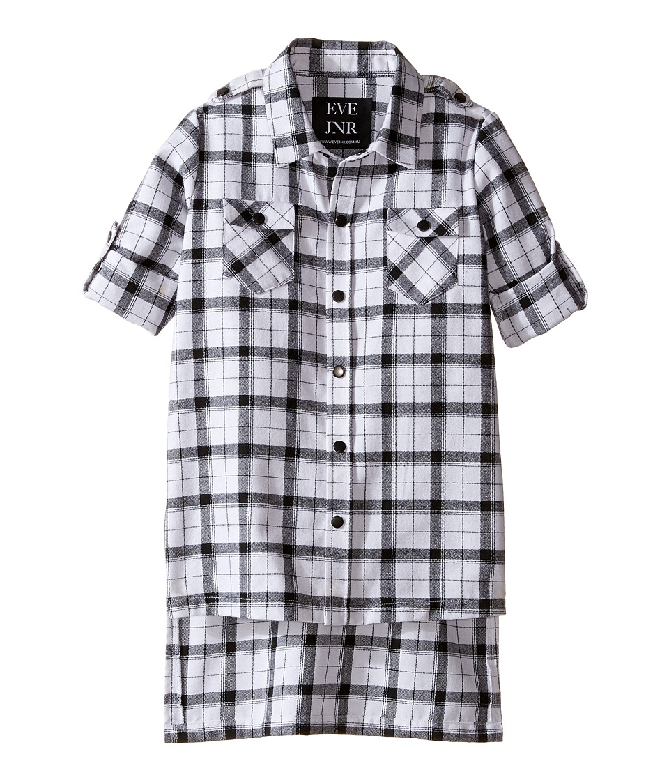 eve jnr - Oversize Button Up Tunic Shirt (Infant/Toddler/Little Kids) (Black/White) Kid's Short Sleeve Button Up