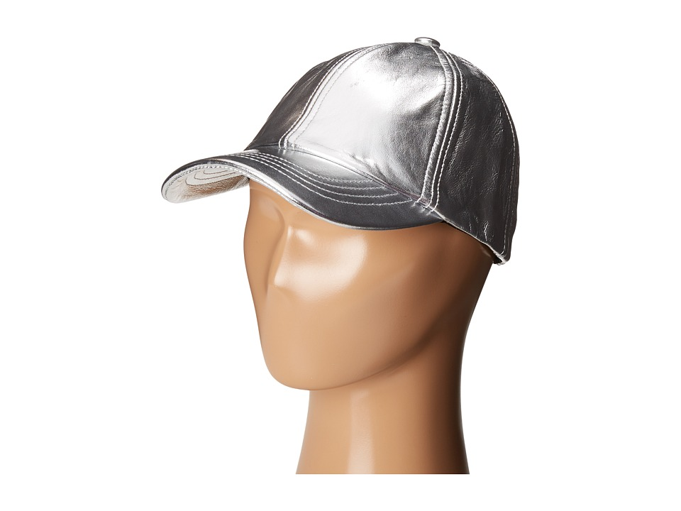 eve jnr - Leather Cap (Little Kids/Big Kids) (Silver) Caps