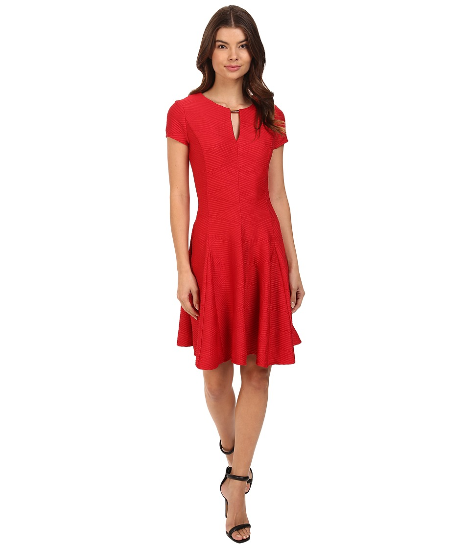 Christin Michaels - Liza Textured Knit Keyhole Dress (Red) Women's Dress