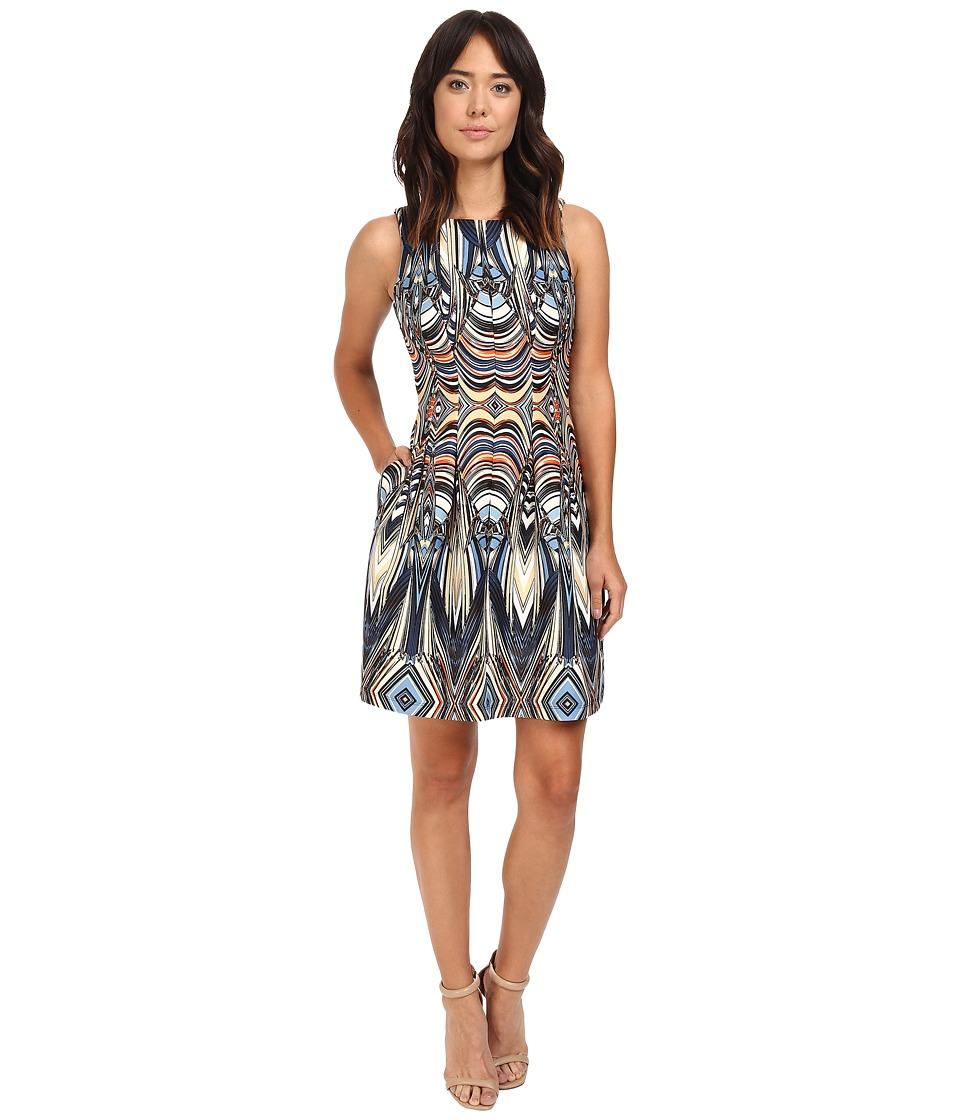 Christin Michaels - Rogue Sleeveless Printed Scuba Dress (Navy/Multi) Women's Dress