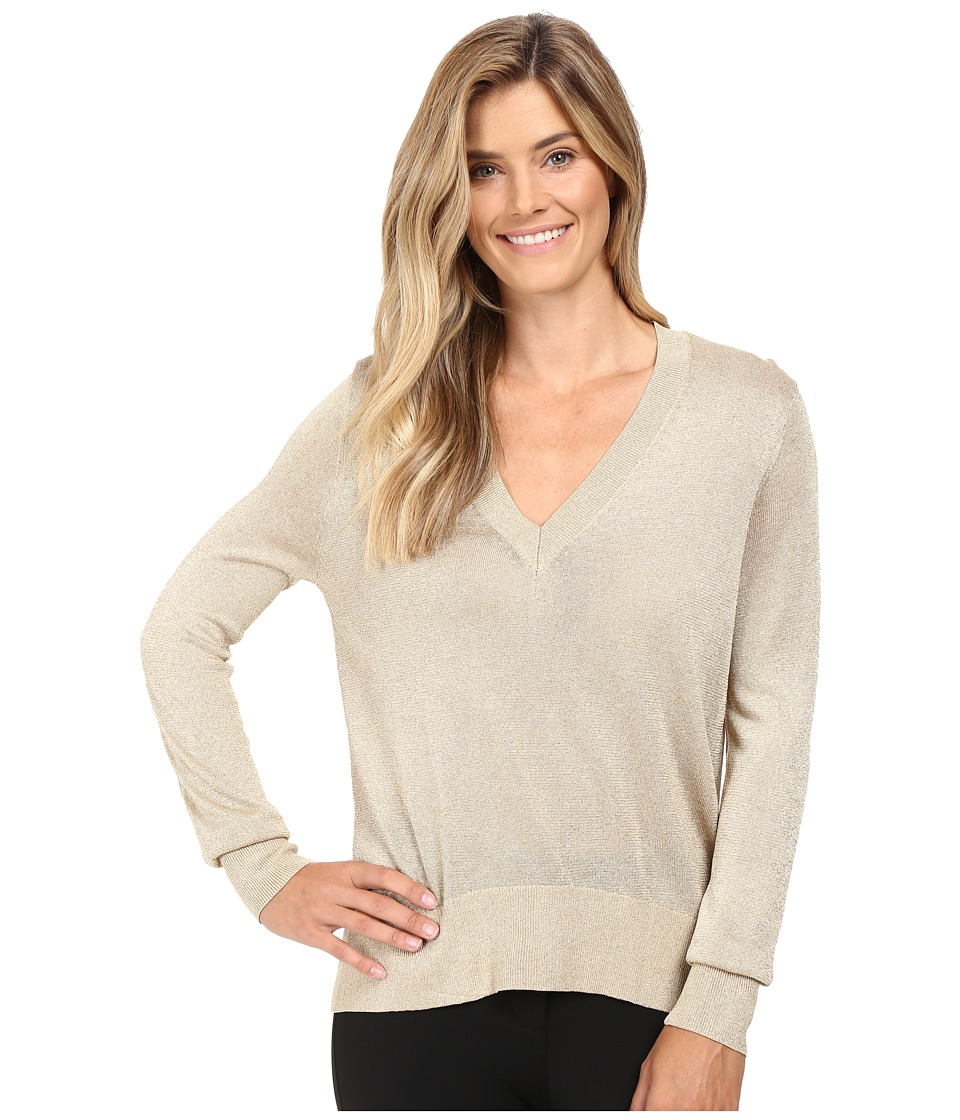 MICHAEL Michael Kors - Metallic V-Neck Sweater High-Low (Khaki) Women's Sweater