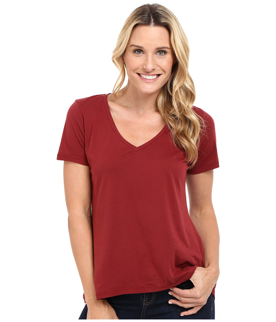 The Beginning Of - Olivia V-Neck High-Low Tee (Bordeaux) Women's Short Sleeve Pullover