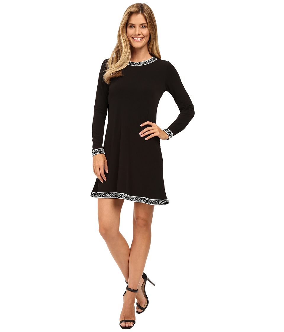 MICHAEL Michael Kors - Long Sleeve Crew Neck Border Dress (Black) Women's Dress