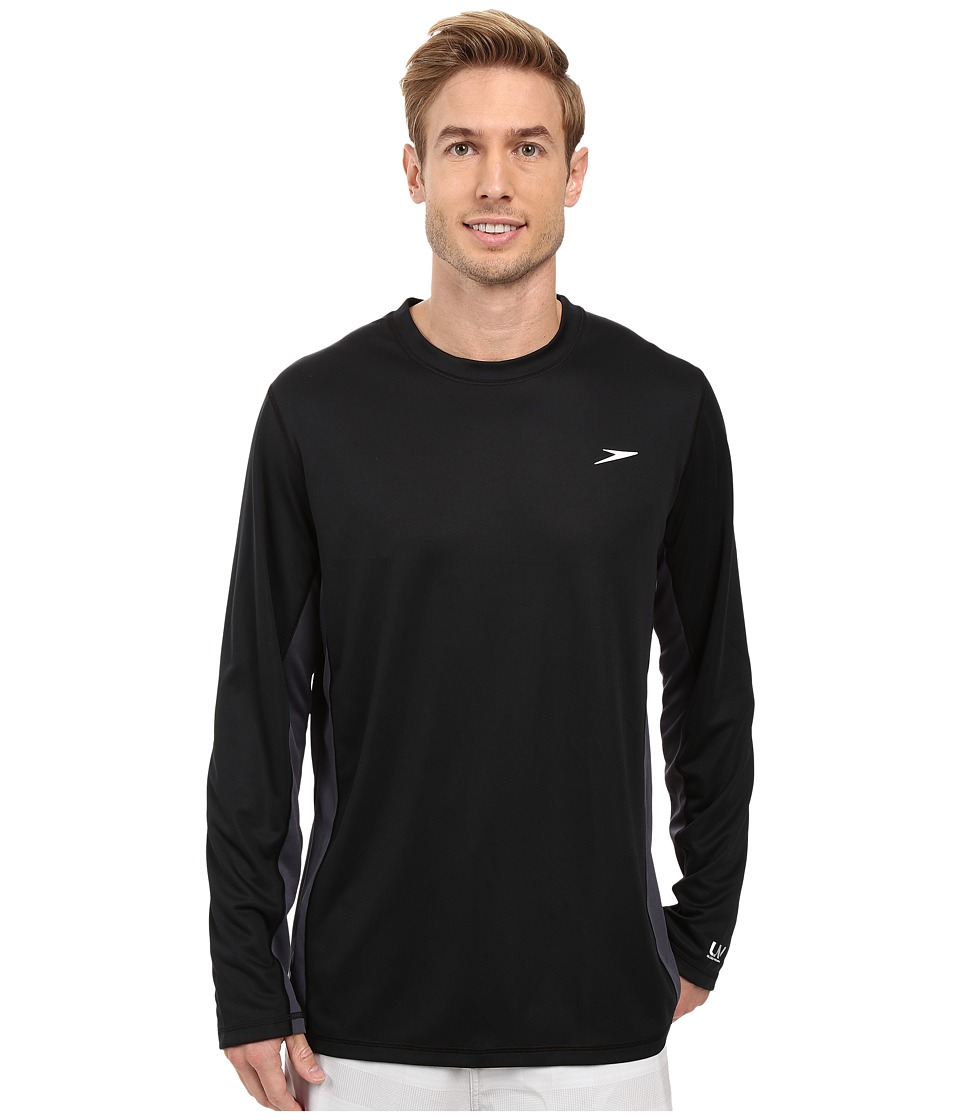 Speedo - Longview Long Sleeve Swim Tee (Black/Black) Men's Swimwear