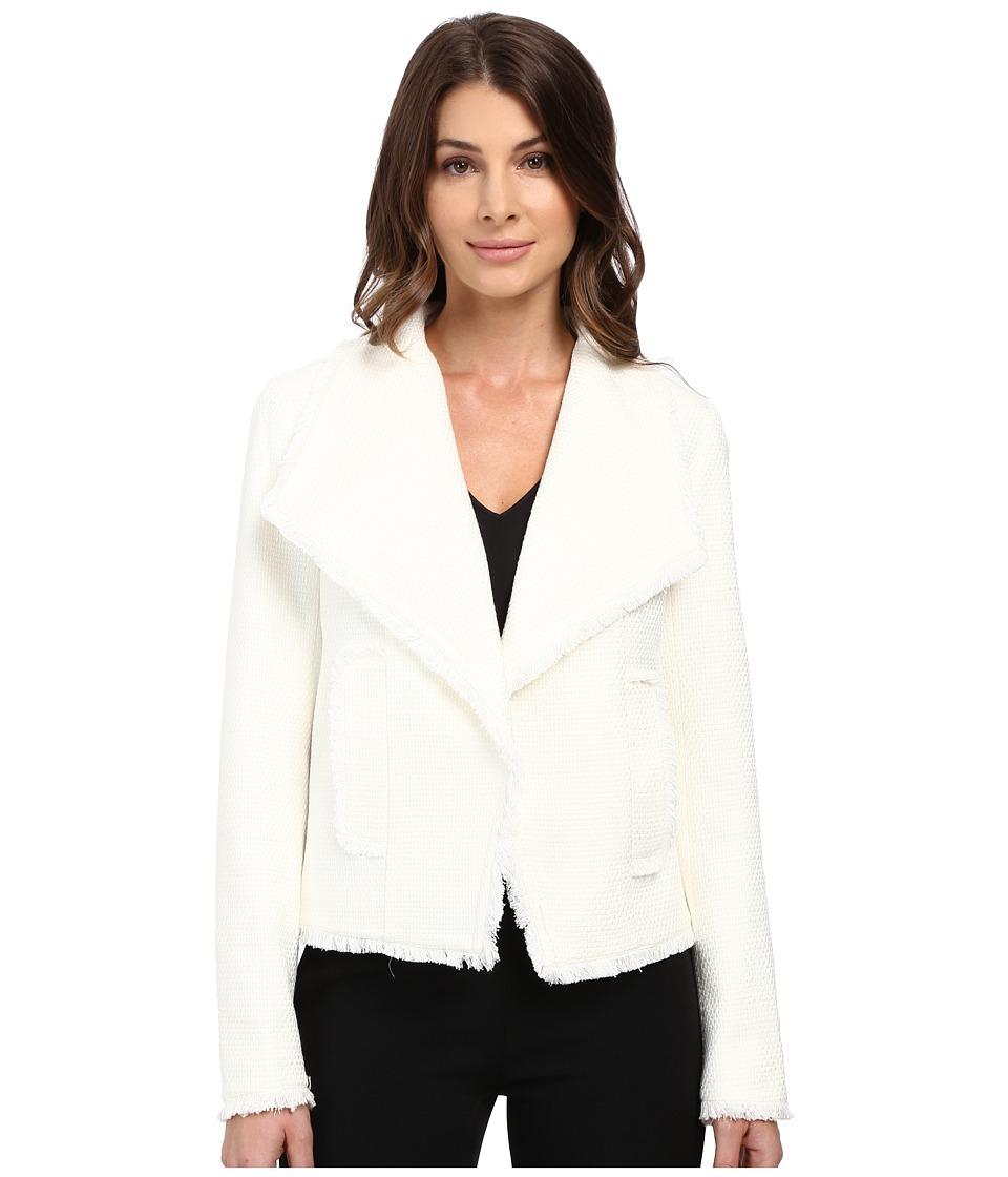 MICHAEL Michael Kors - Open Front Fray Tweed Jacket (Cream) Women's Jacket
