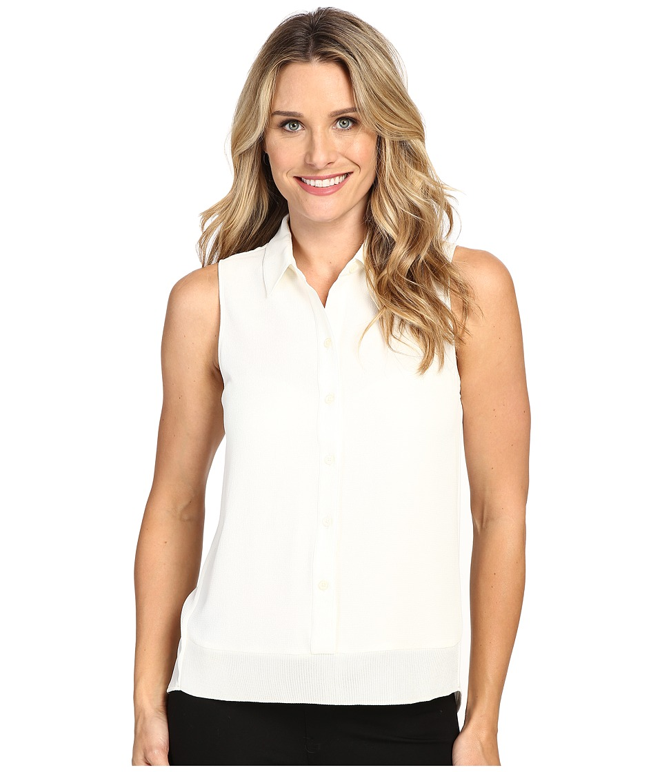 MICHAEL Michael Kors - Sleeveless Button Down Tank Top w/ Rib Trim (Cream) Women's Sleeveless