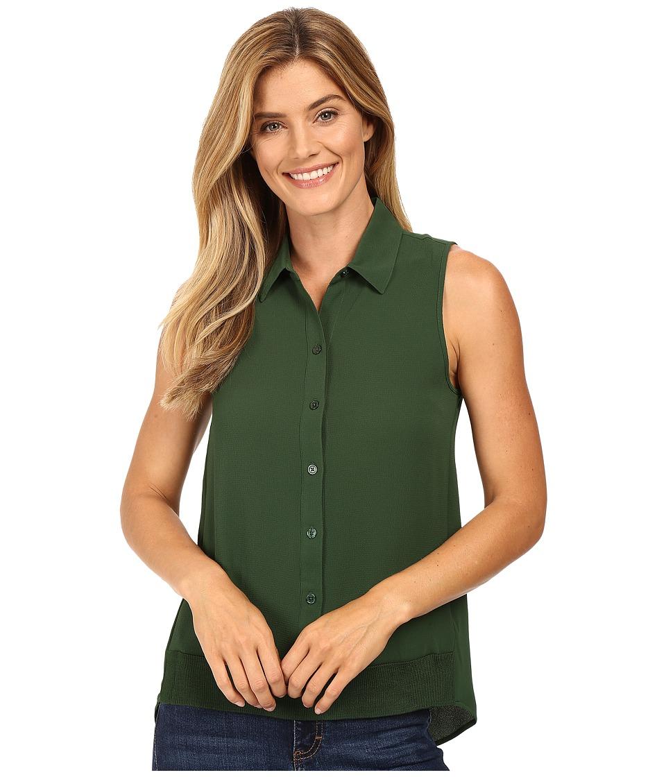 MICHAEL Michael Kors - Sleeveless Button Down Tank Top w/ Rib Trim (Moss) Women's Sleeveless