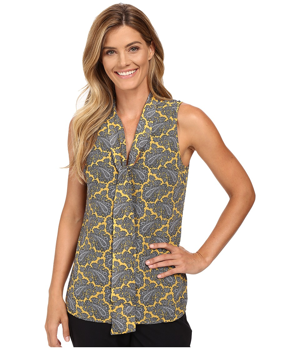 MICHAEL Michael Kors - Rowan Tie Neck Sleeveless Top (Taxi Yellow) Women's Sleeveless