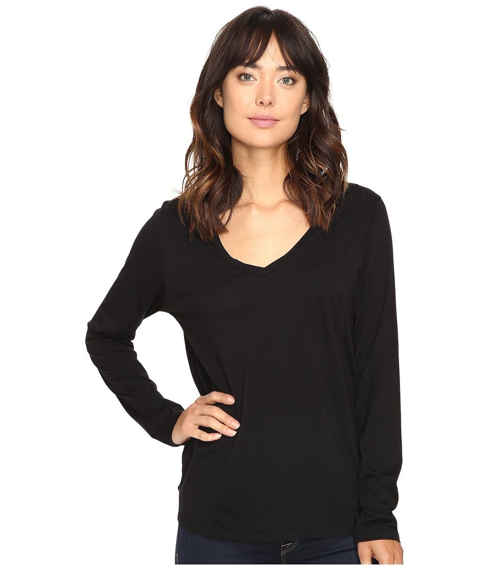 The Beginning Of - Bibury Long Sleeve V-Neck Tee (Black) Women's T Shirt