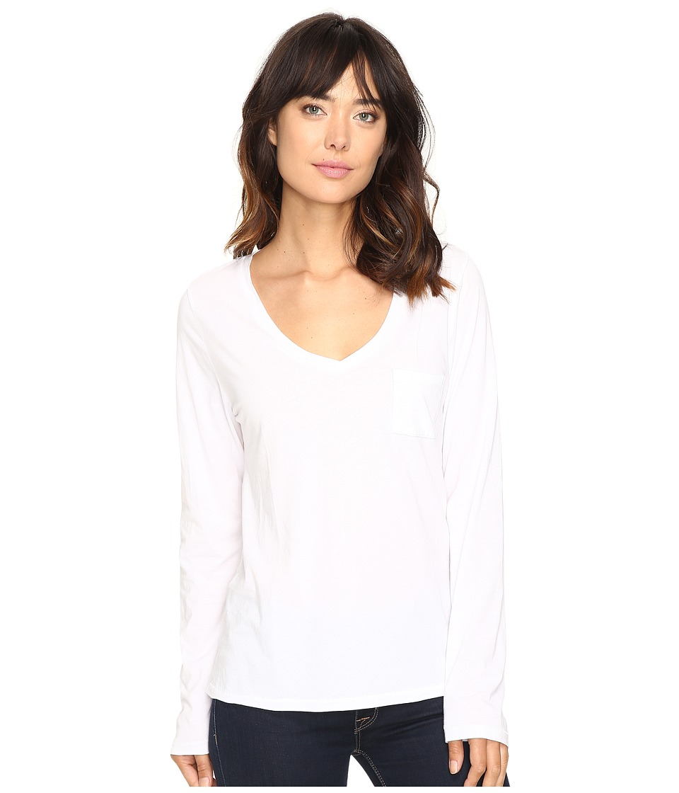 The Beginning Of - Bibury Long Sleeve V-Neck Tee (White) Women's T Shirt