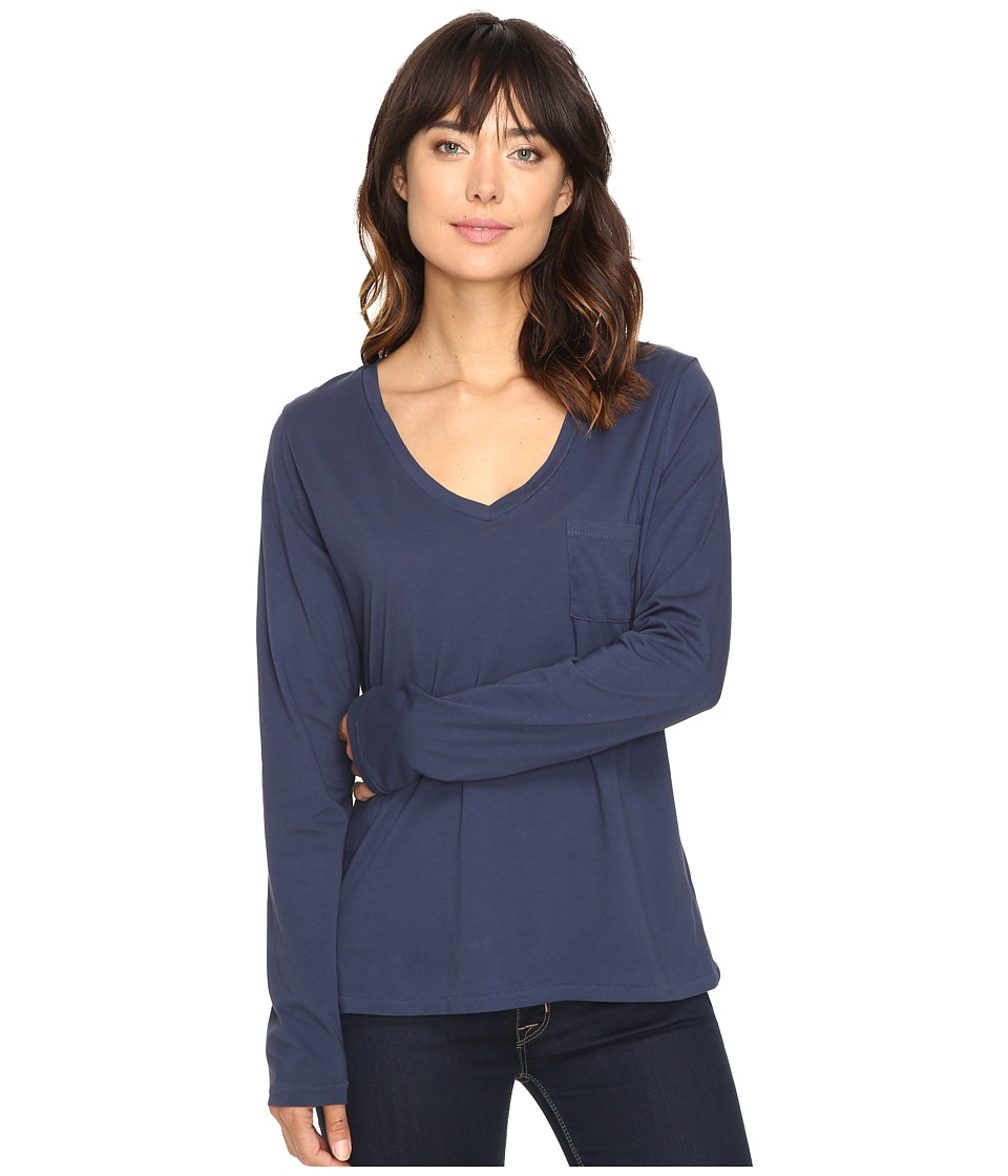 The Beginning Of - Bibury Long Sleeve V-Neck Tee (Indigo) Women's T Shirt